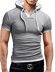 cheap -Men's Solid Colored Slim T-shirt Basic Daily Hooded Black / Gray / Short Sleeve