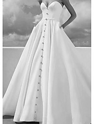 cheap -A-Line Strapless Sweep / Brush Train Satin Strapless Formal Plus Size / Modern Wedding Dresses with Draping 2020