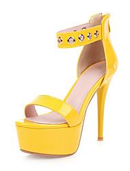 cheap -Women's Sandals Stiletto Heel Open Toe Rivet PU Classic Spring & Summer Black / Silver / Yellow / Wedding / Party & Evening