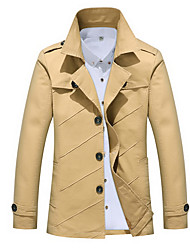 cheap -Men's Daily Fall & Winter Regular Jacket, Solid Colored Notch Lapel Long Sleeve Polyester Black / Wine / Yellow