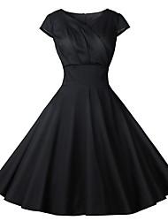 cheap -Women's Elegant Swing Dress - Solid Colored Black White Blushing Pink S M L XL