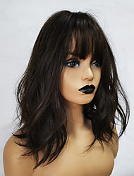 cheap -Synthetic Wig Human Hair Lace Wig Matte Natural Straight Minaj With Bangs Wig Medium Length Brown Synthetic Hair 16 inch Women's Lovely African American Wig Fluffy Brown