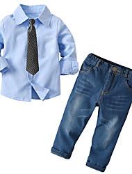 cheap -Baby Boys' Basic Solid Colored Long Sleeve Regular Regular Clothing Set Light Blue