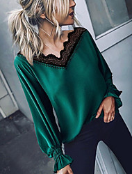 cheap -Women's Daily Blouse - Solid Colored Green