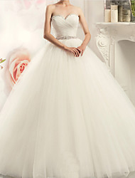 cheap -A-Line Strapless Sweep / Brush Train Tulle Strapless Formal Plus Size Wedding Dresses with Appliques 2020