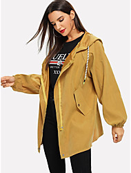 cheap -Women's Holiday / Going out Basic Fall & Winter Short Coat, Solid Colored Sun Flower V Neck Long Sleeve Faux Linen Print Purple / Brown