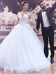 cheap -A-Line Wedding Dresses Jewel Neck Court Train Lace Long Sleeve Country Illusion Sleeve with 2020 / Bell Sleeve