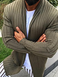 cheap -Men's Solid Colored Cardigan Long Sleeve Sweater Cardigans V Neck White Black Army Green