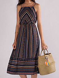 cheap -Women's / Ladies Date Street Trendy Sleeveless Sheath Dress - Geometric Stripes Stripe Printing Royal Blue S M L