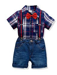 cheap -Kids Toddler Boys' Basic Birthday Party Party & Evening Black & White Plaid Print Short Sleeve Regular Regular Clothing Set Navy Blue
