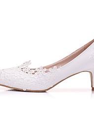 cheap -Women's Wedding Shoes Low Heel Pointed Toe PU Spring & Summer White