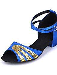 cheap -Women's Latin Shoes Suede Heel Thick Heel Dance Shoes Blue