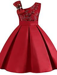Недорогие -Дети Девочки Цветочный принт Платье Винный