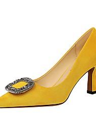 cheap -Women's Heels Chunky Heel Pointed Toe Suede Winter Black / Yellow / Khaki
