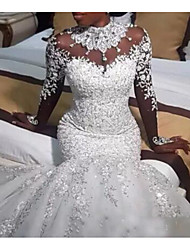 cheap -Mermaid / Trumpet Wedding Dresses Jewel Neck Sweep / Brush Train Lace Tulle Long Sleeve Casual Plus Size with Beading Appliques 2020