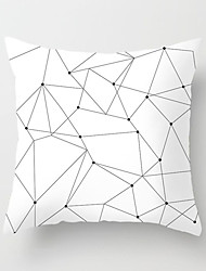 cheap -1 pcs Polyester Pillow Cover Nordic Black-and-White Pillow Case Geometric Plaid Stripe English Simple Cushion Sofa Cushion Office Back Cushion Case