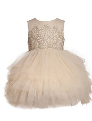 cheap -Ball Gown Knee Length Pageant Flower Girl Dresses - Polyester Sleeveless Jewel Neck with Pick Up Skirt / Appliques