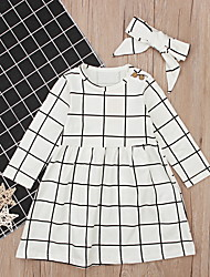 cheap -Kids Girls' Check Dress Beige
