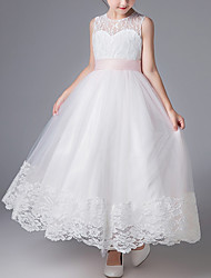 cheap -A-Line Ankle Length First Communion Flower Girl Dresses - Cotton Sleeveless Jewel Neck with Lace