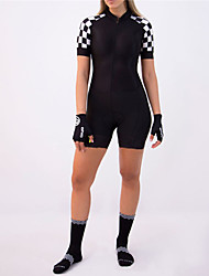 cheap -21Grams Women's Short Sleeve Triathlon Tri Suit Spandex Polyester Black / White Plaid Checkered Bike Clothing Suit UV Resistant Breathable Quick Dry Sweat-wicking Sports Plaid Checkered Mountain Bike