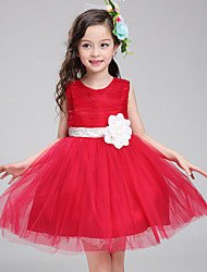 cheap -Princess Knee Length Pageant Flower Girl Dresses - Polyester Sleeveless Jewel Neck with Bandage / Color Block