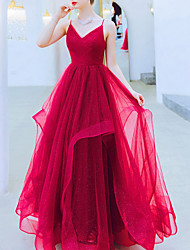 cheap -A-Line Wedding Dresses V Neck Floor Length Organza Sleeveless Romantic Plus Size Red with Ruched Ruffles 2020
