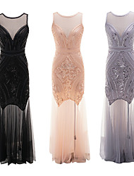 cheap -The Great Gatsby Retro Vintage 1920s Summer Flapper Dress Dress Women's Sequins Sequin Costume Black / Blushing Pink / Gray Vintage Cosplay Event / Party Sleeveless Long Length