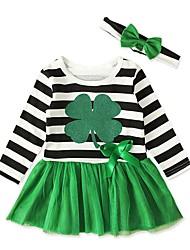 abordables -bébé Fille Actif Rayé Manches Longues Robe Vert