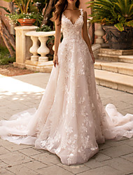 cheap -A-Line Wedding Dresses V Neck Court Train Polyester Sleeveless Formal Plus Size with Lace Insert Appliques 2020