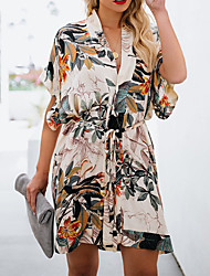 cheap -Women's / Ladies 2020 Date Street Pastoral Style T-shirt Sleeve Loose Swing Dress - Trees / Leaves Tropical Leaf, Printing V Neck Spring & Summer White S M L XL Belt Not Included