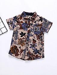 Недорогие -Дети Мальчики Классический Цветочный принт С короткими рукавами Рубашка Синий