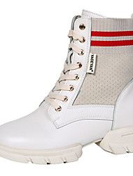 cheap -Women's Dance Boots PU Heel Thick Heel Dance Shoes Black / Beige