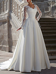 cheap -A-Line Wedding Dresses V Neck Sweep / Brush Train Tulle Long Sleeve Formal Plus Size Illusion Sleeve with Appliques 2020