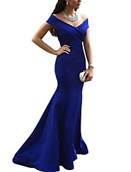 cheap -Mermaid / Trumpet Plunging Neck Long Length Polyester Bridesmaid Dress with Pleats