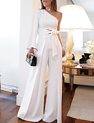 cheap -Jumpsuits One Shoulder Floor Length Polyester Long Sleeve Romantic Modern Wedding Dresses with 2020