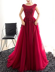 cheap -A-Line Elegant Engagement Formal Evening Dress Jewel Neck Sleeveless Sweep / Brush Train Polyester with Appliques 2020