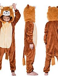cheap -Kid's Kigurumi Pajamas Lion Onesie Pajamas Flannel Fabric Coffee Cosplay For Boys and Girls Animal Sleepwear Cartoon Festival / Holiday Costumes / Leotard / Onesie / Leotard / Onesie