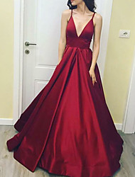 cheap -A-Line Wedding Dresses V Neck Floor Length Satin Sleeveless Romantic Plus Size Red with Draping 2020