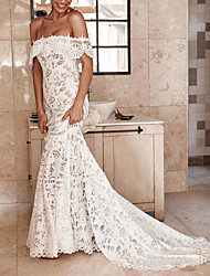 cheap -Mermaid / Trumpet Off Shoulder Court Train Lace / Tulle Sleeveless Casual / Boho Plus Size Wedding Dresses with Lace Insert / Appliques 2020