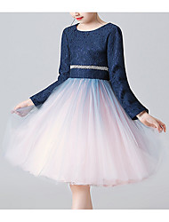 cheap -A-Line Knee Length Pageant Flower Girl Dresses - Cotton Long Sleeve Jewel Neck with Lace