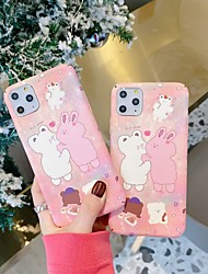 cheap -Couple Rabbit iPhone 11 TPU Case 3D Cute Cartoon Funny Design Character Protective Fashion Fun Cool Cover Skin Teens Boys Girls Cases for iPhone 7 / iPhone 8 / iPhone 11 pro