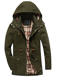 cheap -Men's Daily Fall & Winter Regular Jacket, Solid Colored Hooded Long Sleeve Polyester Black / Army Green / Khaki