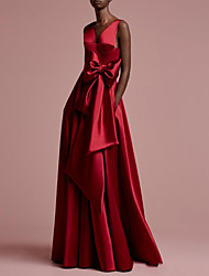 cheap -A-Line V Neck Floor Length Satin Regular Straps Romantic Plus Size / Red Wedding Dresses with Bow(s) 2020