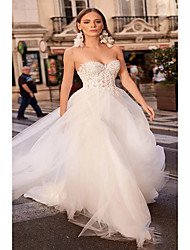 cheap -A-Line Strapless Court Train Lace / Tulle Strapless Boho / Sexy Plus Size Wedding Dresses with Lace / Appliques 2020