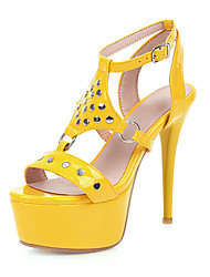 cheap -Women's Sandals Stiletto Heel Open Toe Rivet PU Classic Spring & Summer Black / Silver / Yellow / Wedding / Party & Evening