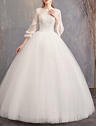 cheap -Ball Gown Jewel Neck Floor Length Lace / Tulle Cap Sleeve Casual Plus Size Wedding Dresses with Lace Insert 2020