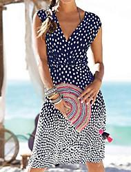 cheap -Women's Sheath Dress - Polka Dot Black Royal Blue Green S M L XL