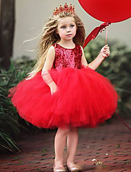 cheap -Princess Dress Flower Girl Dress Girls' Movie Cosplay A-Line Slip Cosplay Purple / Red / Pink Dress Halloween Carnival Masquerade Tulle Polyester Sequin