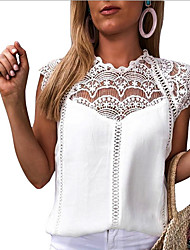 cheap -Women's Solid Colored Loose Blouse Daily White / Black