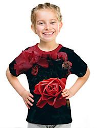 Недорогие -Дети Девочки Активный Уличный стиль Цветочный принт 3D С принтом С короткими рукавами Футболка Красный